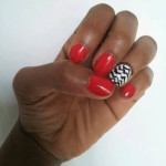 Nail Art:  Black & White & Red All Over