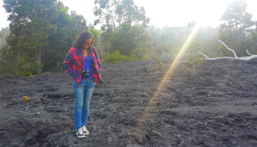 9 standing on solidified lava flows lava field in hilo